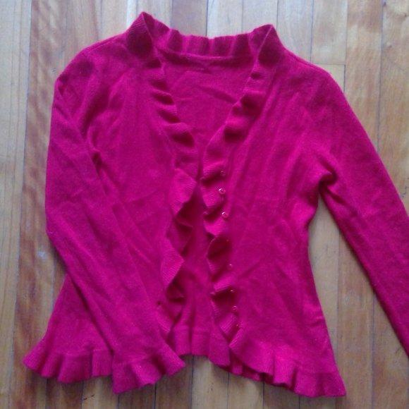 🔥💲 100% cashmere RED (not fushia) cardigan XS